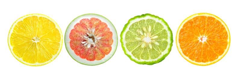 lemons lime 桔子,柠檬,香柠檬 在白色隔绝的切片 免版税库存照片