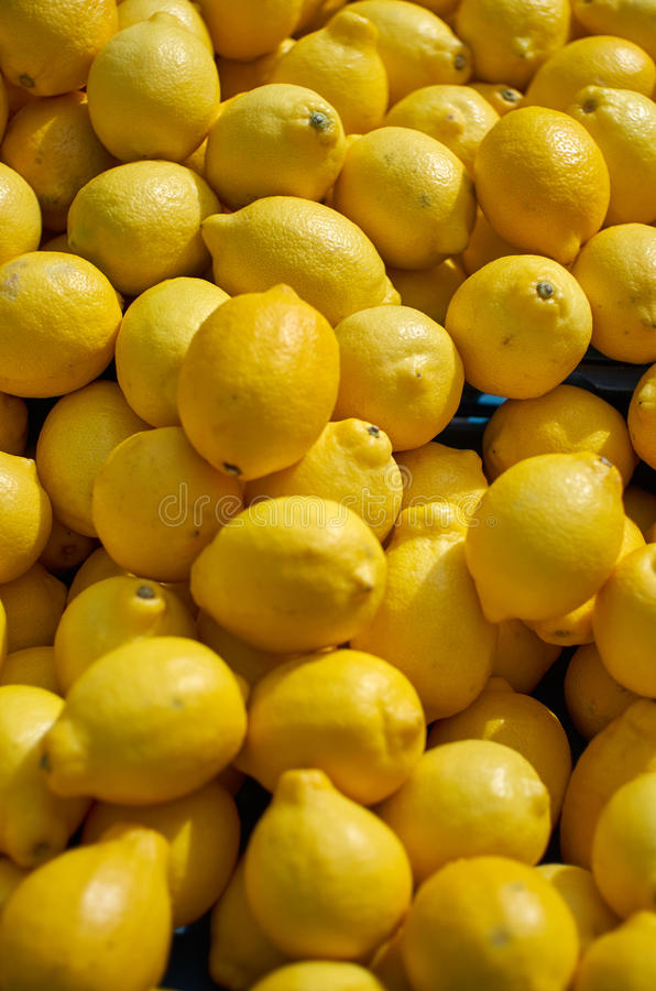 Lemons at the market royalty free stock photography