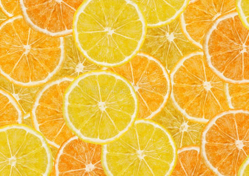 Lemons and oranges slices background. Full frame, top view vector illustration