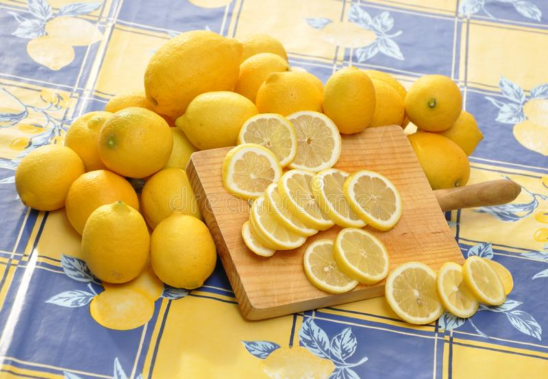 Download Lemons And Wood Cutting Board Stock Image - Image of wood, tablecloth: 15873895