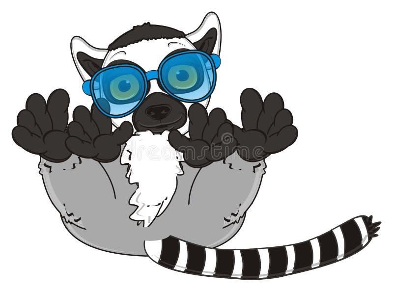 Lemur in blue sunglasses. Gray lemur in sunglasses lying royalty free illustration