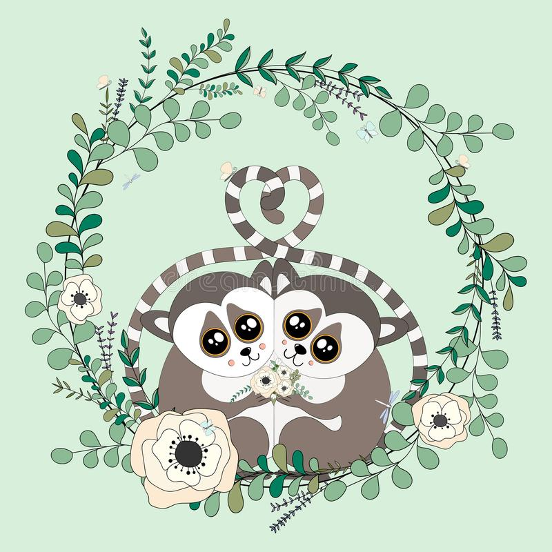 2018 02 23_lemur_eucalyptus illustration de vecteur