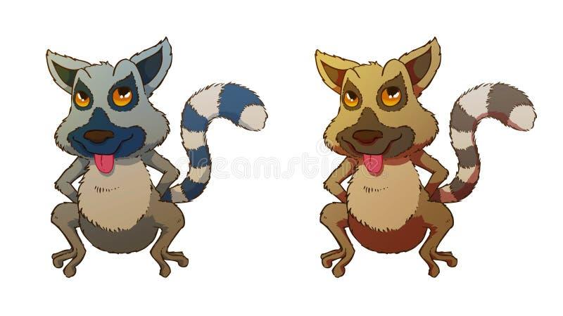 Lemur. Illustration of a lemur with two colour variatons stock illustration