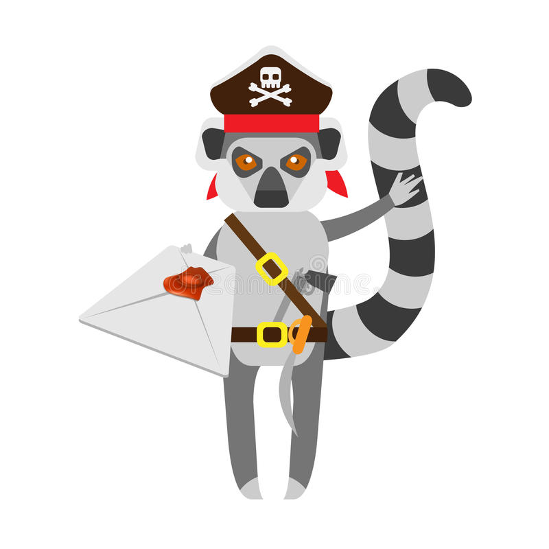 Lemur pirate with postal envelope vector illustration