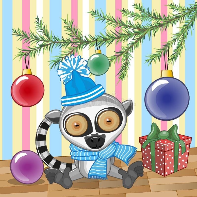 Lemur pod drzewem royalty ilustracja