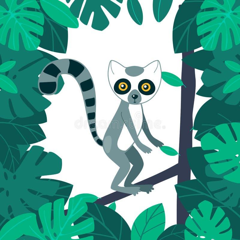 Lemur w lasowym Śmiesznym zwierzęcym charakterze z pasiastymi ogonami i dużymi oczami Wektorowa kreskówki ilustracja dla dzieciak ilustracji
