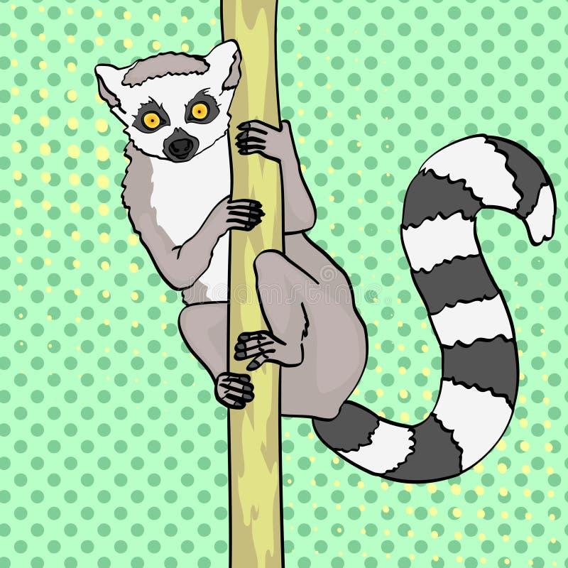 lemura śledzić pierścionek Wystrzał sztuki tło Zwierzęcy kota lemur na gałąź bambus, drewno wektor ilustracji