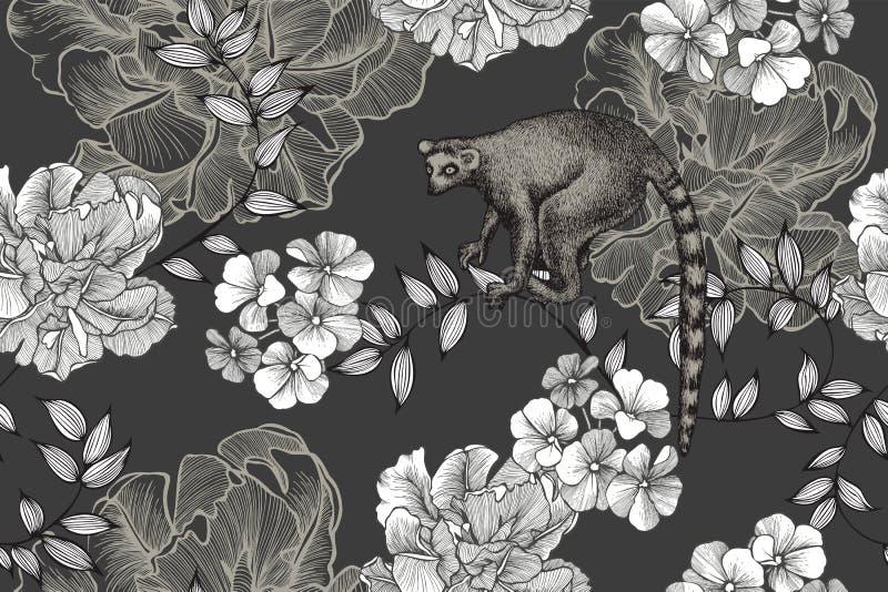 Lemura i kwiatu bezszwowy wzór z tulipanami Pociągany ręcznie, wektorowa ilustracja, ilustracja wektor
