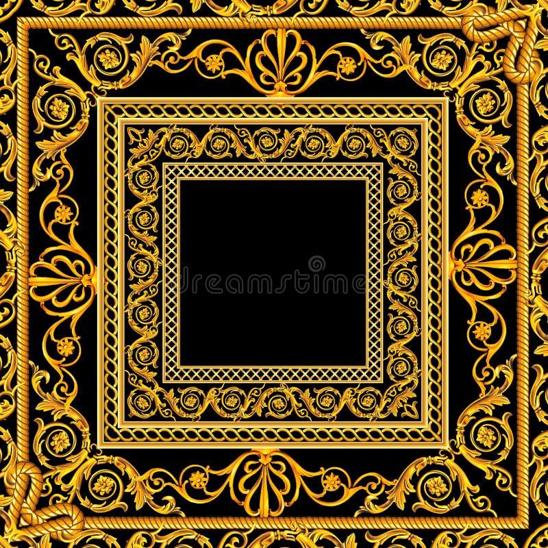 Lenço com um teste padrão de barroco dourado dos elementos do ouro em um preto e em um fundo de Borgonha ilustração royalty free