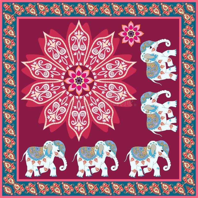 Lenço de seda com flor da mandala, os elefantes bonitos e beira decorativa de paisley no vetor Estilo étnico ilustração royalty free