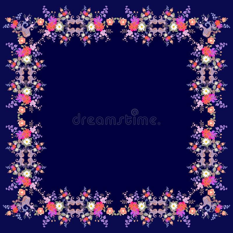 Lenço de seda do vintage com o ornamento floral e o paisley brilhantes em escuro - fundo azul Cartão do cumprimento ou do convite ilustração do vetor