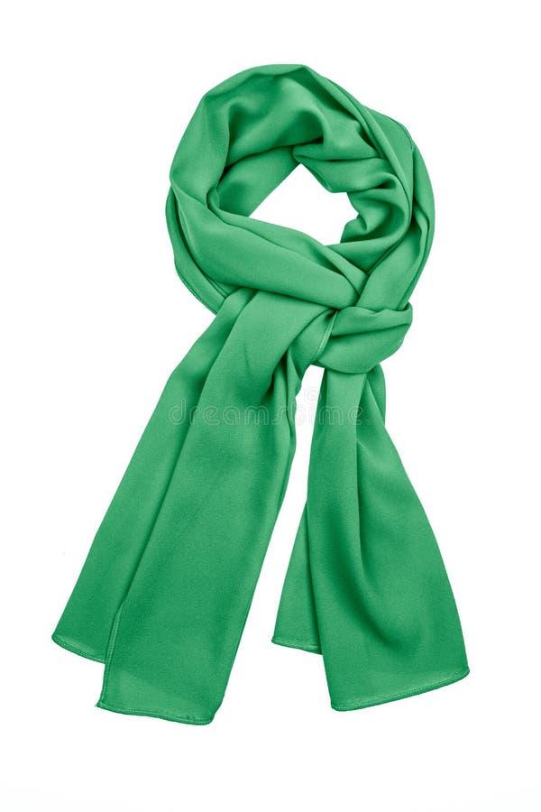 Lenço de seda verde isolado no fundo branco imagem de stock royalty free