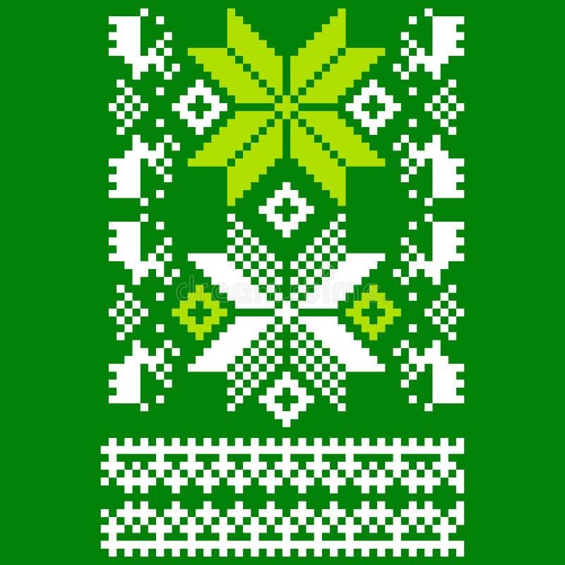 Lenço escandinavo feito malha verde ilustração do vetor