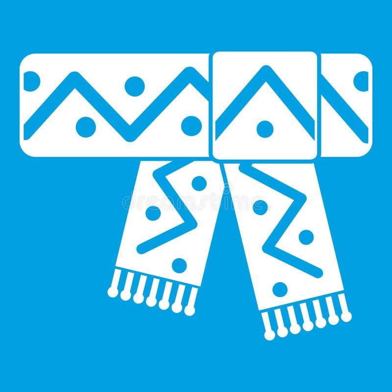 Lenço feito malha com branco do ícone do teste padrão ilustração royalty free