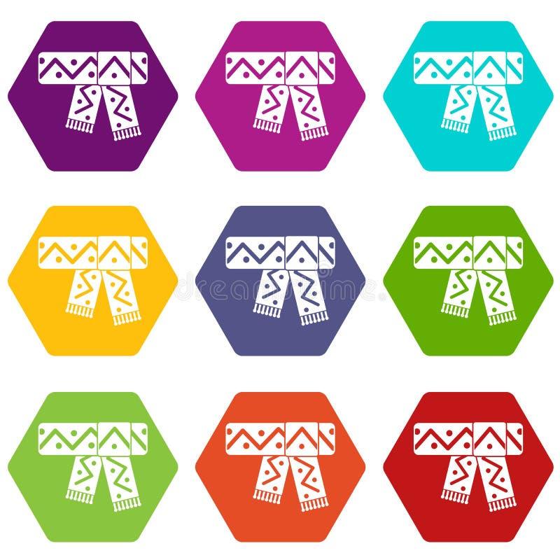 Lenço feito malha com hexahedron ajustado da cor do ícone do teste padrão ilustração stock