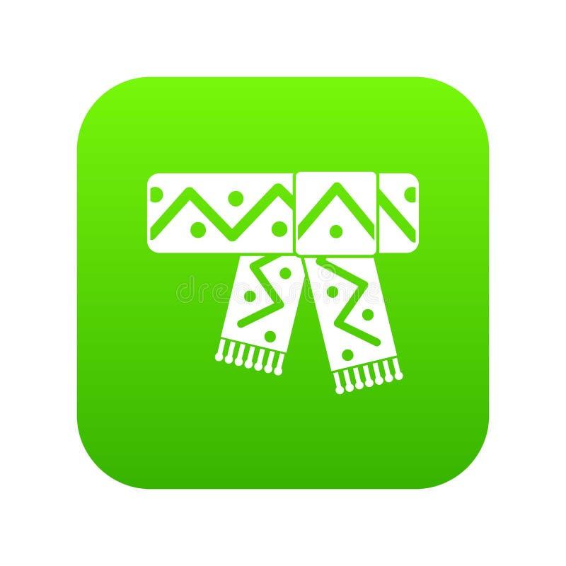 Lenço feito malha com verde digital do ícone do teste padrão ilustração royalty free