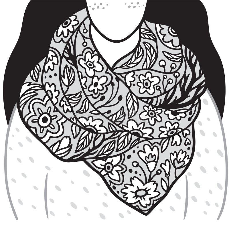 Lenço floral na jovem mulher Ilustração preto e branco do contorno ilustração royalty free