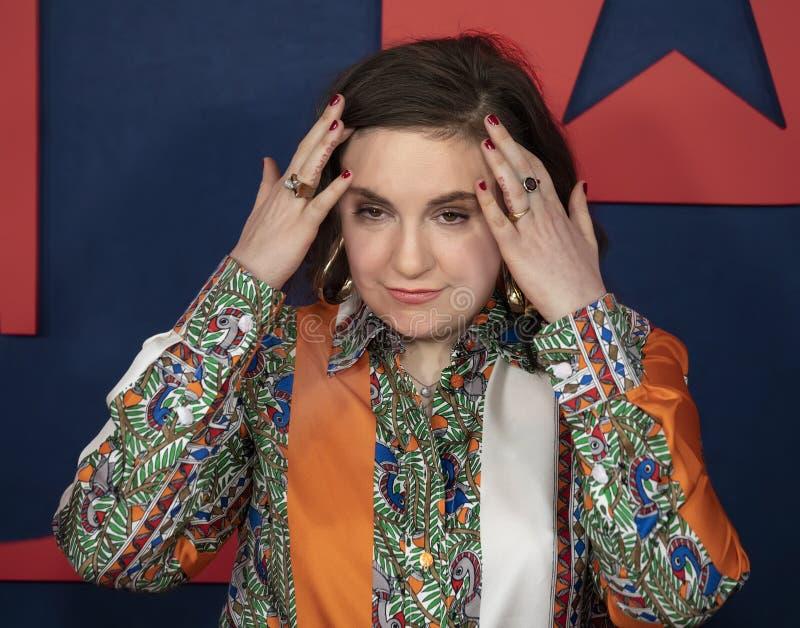 Lena Dunham na premier da estação final de Veep imagem de stock