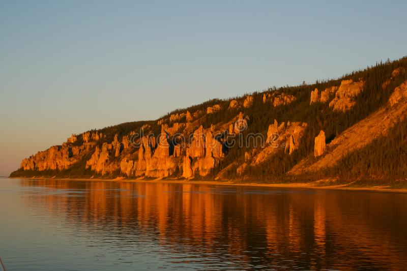Lena pillars, Nature of Eastern Siberia. Traces of Siberian ladders royalty free stock photos