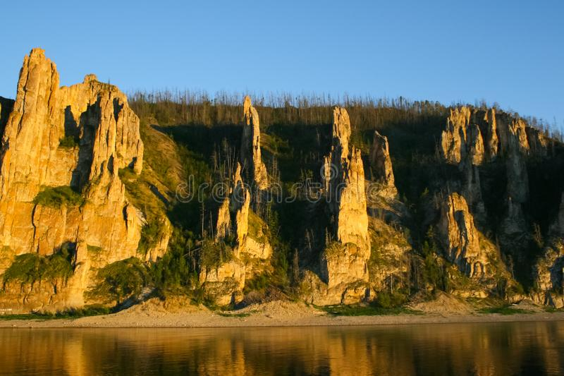 Lena pillars, Nature of Eastern Siberia. Traces of Siberian ladders royalty free stock image