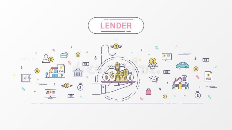 Lender infographics concept. stock illustration
