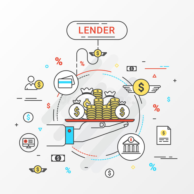 Lender infographics concept. Loan lending of money from bank, personal loans, credit card, organization or entity. royalty free illustration
