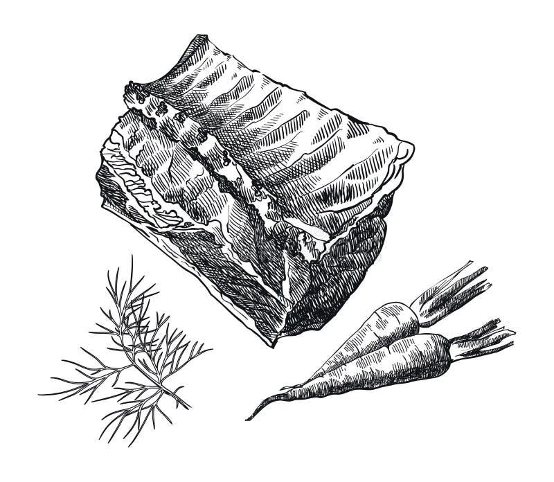 Lendestuk op het been en de kruiden royalty-vrije illustratie