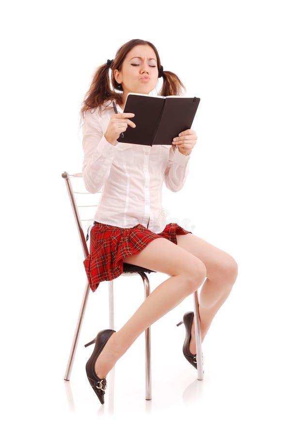 Lendo o estudante fêmea fotografia de stock
