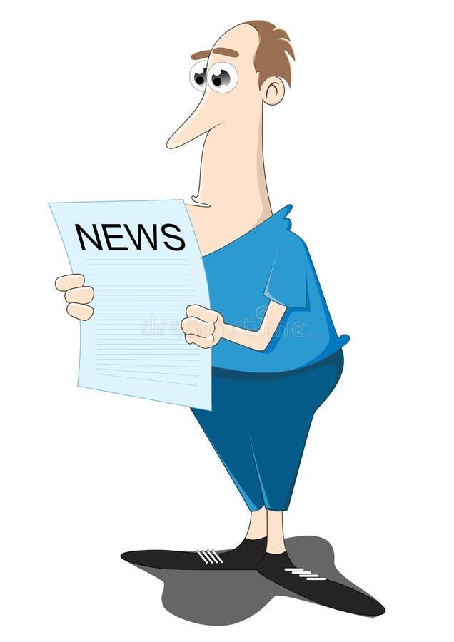 Lendo o jornal ilustração royalty free
