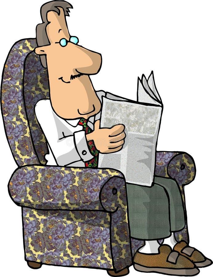 Lendo o jornal ilustração stock