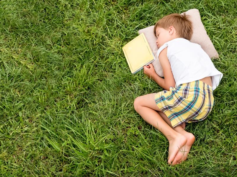 Lendo o livro exterior Sono na grama Atividades intelectuais imagem de stock