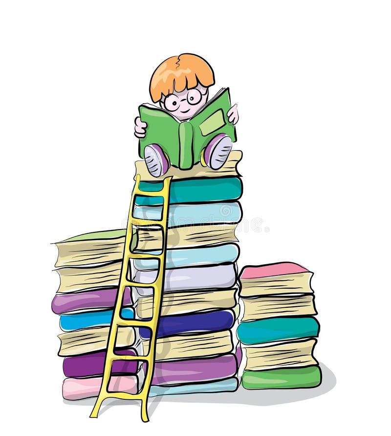 Lendo o menino em livros, em clipart do vetor, em conceito do conhecimento e em educação para crianças ilustração stock