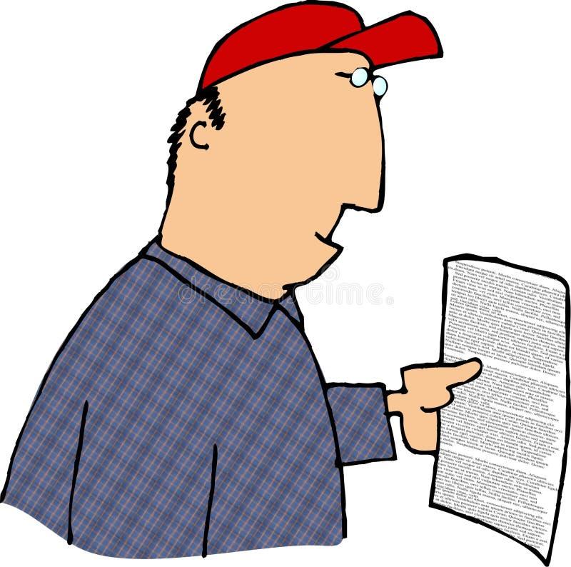 Lendo um contrato ilustração royalty free