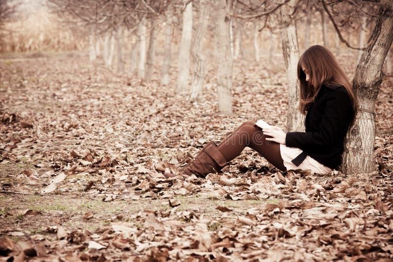 Lendo um livro na floresta fotografia de stock