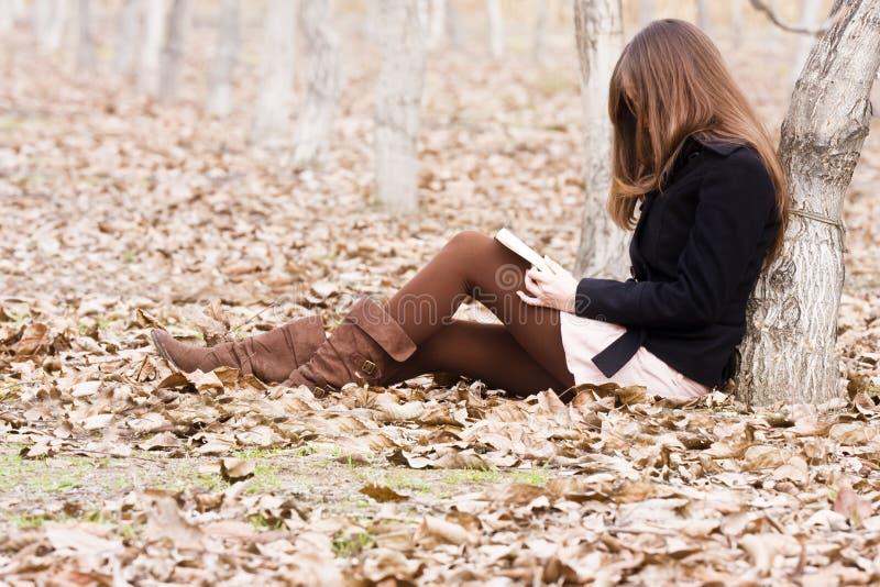 Lendo um livro na floresta foto de stock royalty free