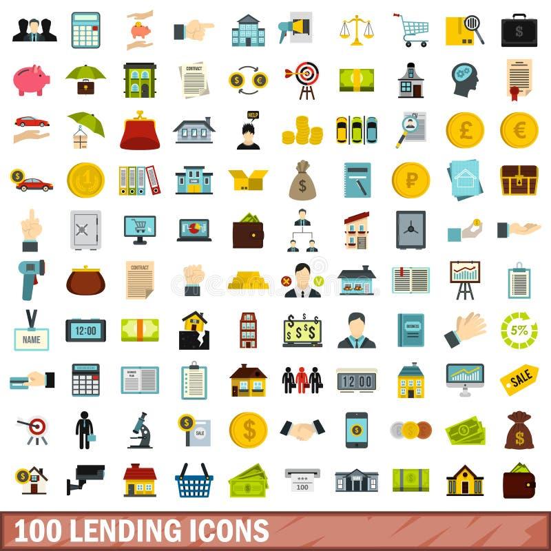 100 lenend geplaatste pictogrammen, vlakke stijl vector illustratie
