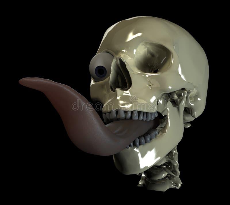 Lengüeta larga del cráneo stock de ilustración