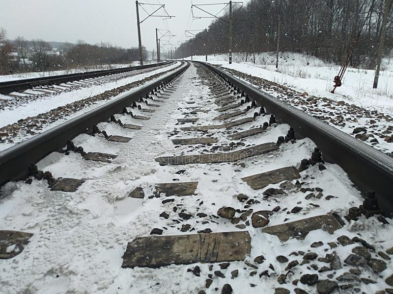 The length of the railway track royalty free stock image
