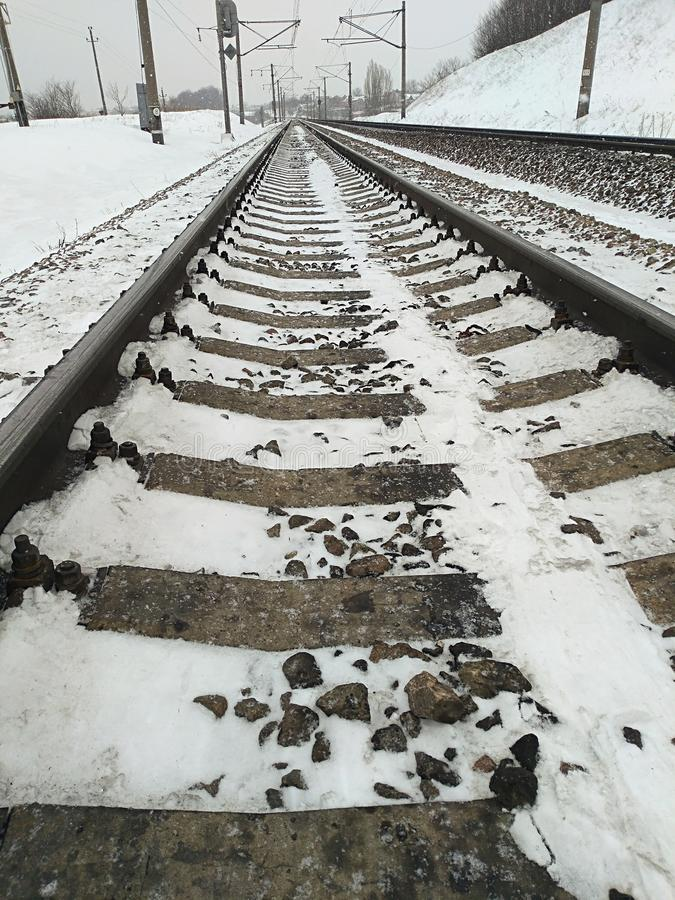 The length of the railway track stock images