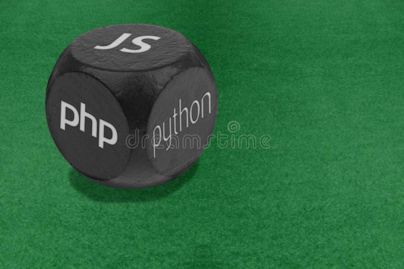 Lengua de la programación web que elige concepto Dados con el texto de JS, del PHP y de PYTHON en caras Tecnologías alternativas  imagenes de archivo