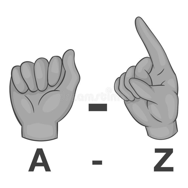 Lengua del icono de los gestos, estilo monocromático gris ilustración del vector