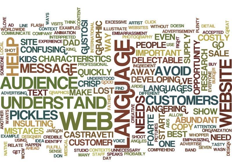 Lengua en sitios web usted entiende concepto de la nube de la palabra del fondo del texto de las salmueras ilustración del vector
