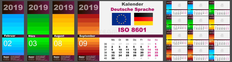 Lengua holandesa alemana de Deutsche del calendario de pared para 2019, ISO 8601 con semanas Modelo del vector ilustración del vector