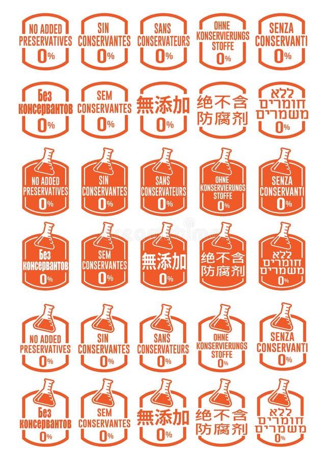 Lengua multi ningunos iconos añadidos de los preservativos fijados libre illustration