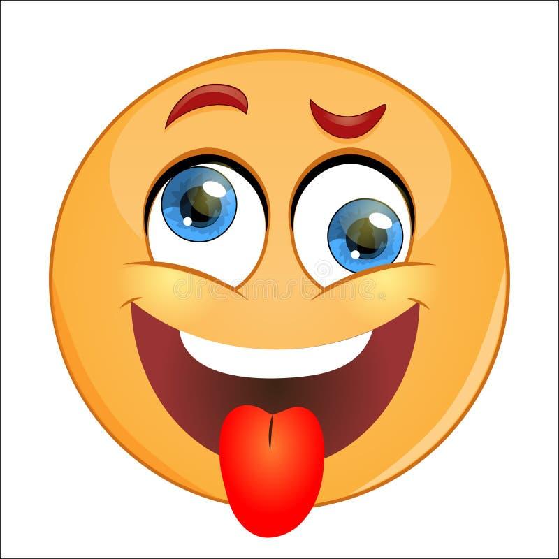 Lengua que muestra sonriente amarilla loca ilustración del vector