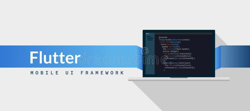 Lenguaje de programación del dardo del marco del alboroto UI con código de la escritura en la pantalla del ordenador portátil, ej ilustración del vector