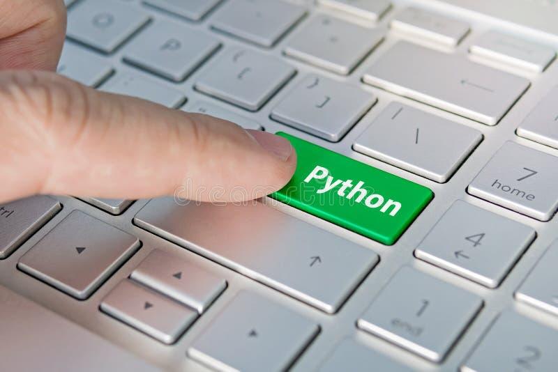 Lenguaje de programación de Python escritura en el botón moderno del ordenador portátil gris El finger presiona el bot?n Programa imágenes de archivo libres de regalías