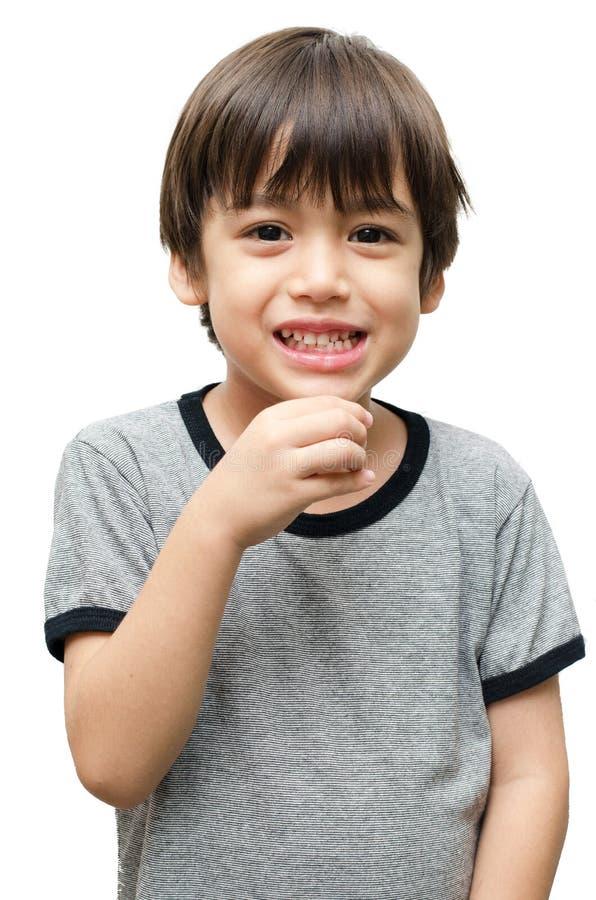 Lenguaje de signos de la mano del niño de la bebida imagen de archivo