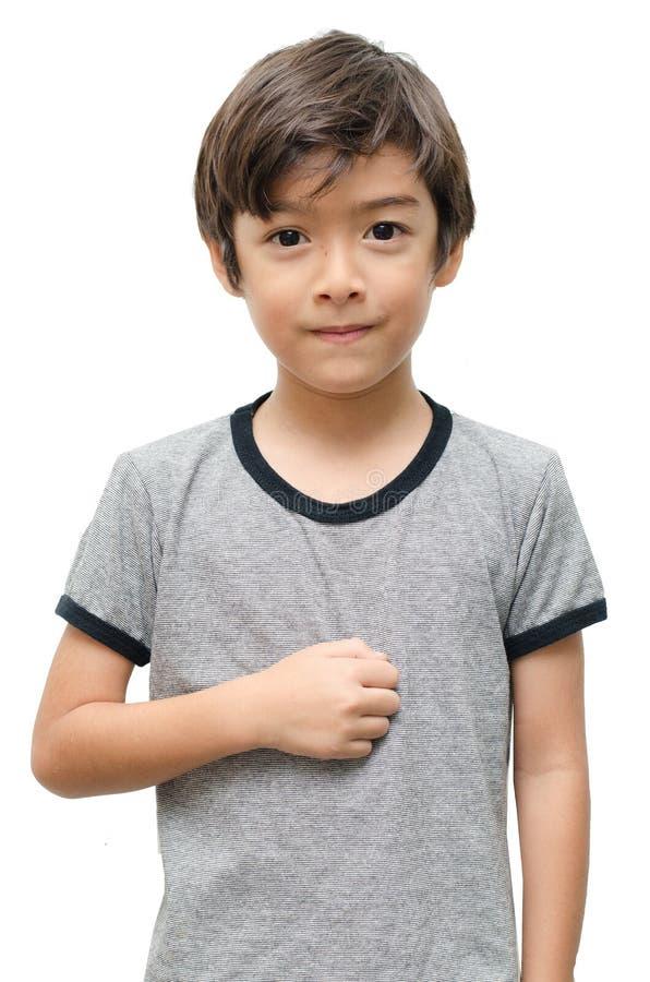 Lenguaje de signos triste de la mano del niño imagen de archivo libre de regalías