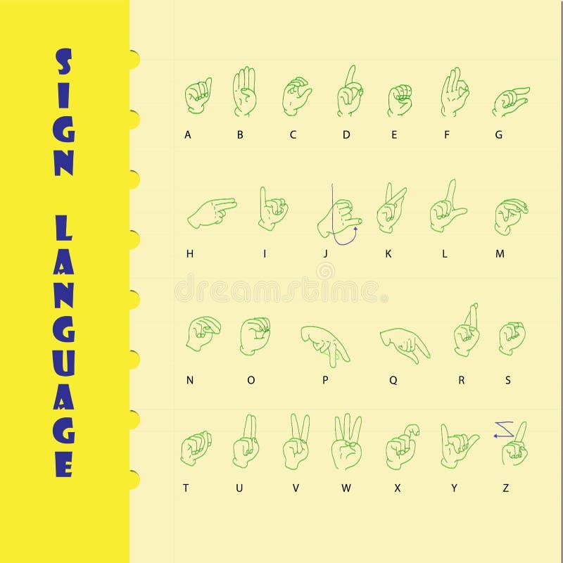 Lenguaje de signos y el alfabeto libre illustration